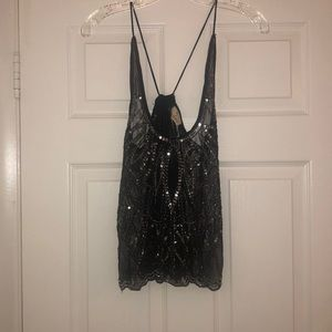 Urban outfitters black detailed strappy tank
